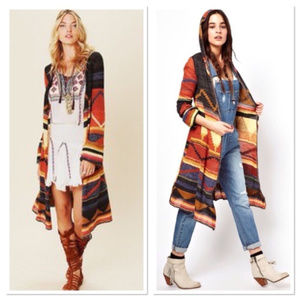 FREE PEOPLE LIMA AZTEC HOODED SWEATER ~ M ~ DUSTER